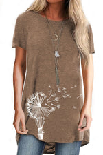 Short Sleeve Shift Dandelion Print Casual T-shirts