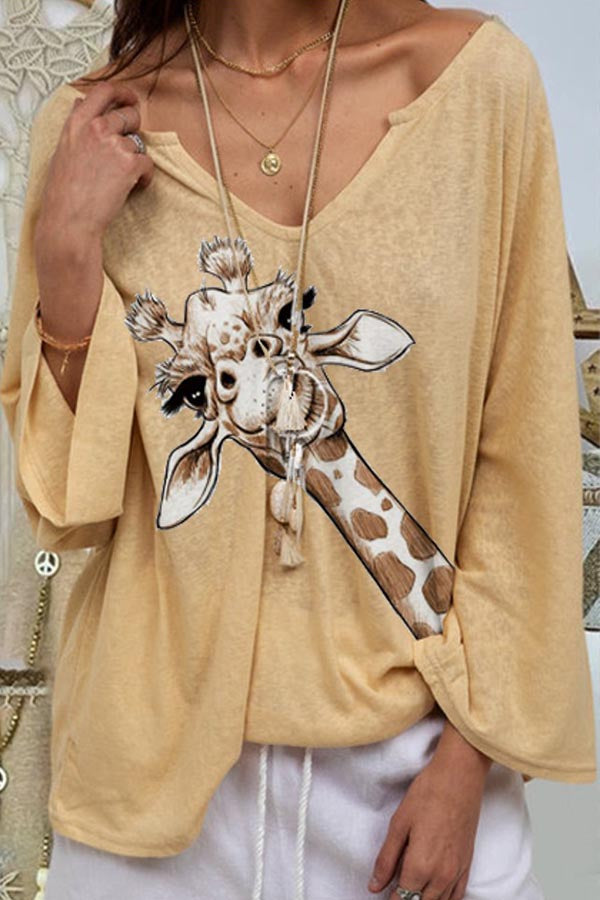 Cartoon Print V-neck Casual Long Sleeves Blouse