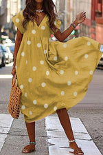 Polka Dot V-neck Loose Midi Dress