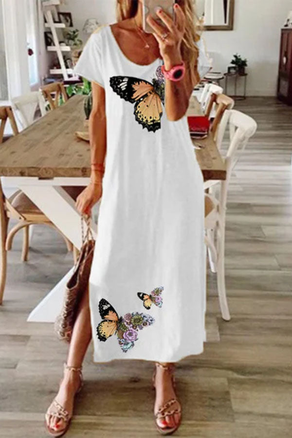 Graphic Print Short Sleeves Casual Slit Maxi Dress