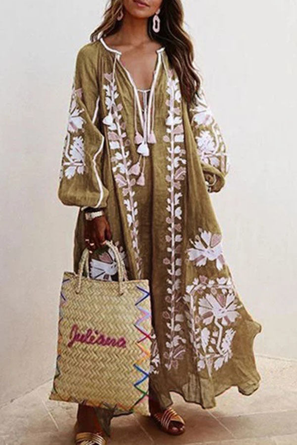 Tassel Boho Print Loose Balloon Sleeves Maxi Dress