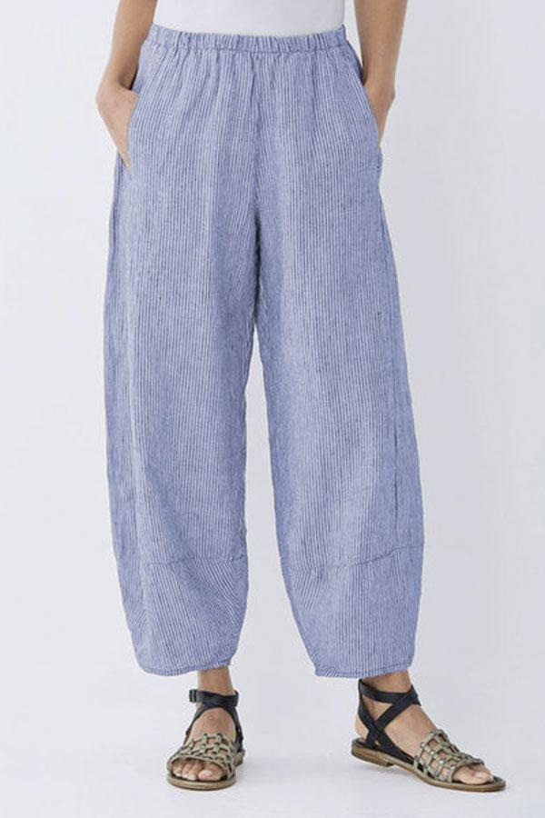 Casual Striped Pockets Shift Pants