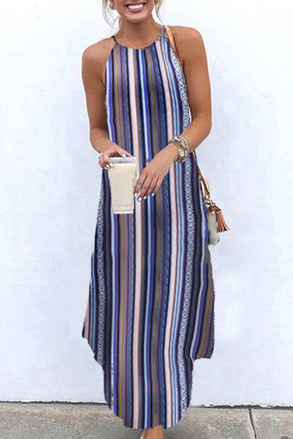 Bohemian Striped Print Halter Neck Sleeveless Holiday Maxi Dress