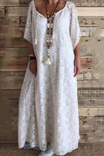 Casual  Lace V Neck Loose Maxi Dress