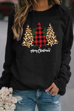 Merry Christmas Red Plaid Leopard Tree Print Casual Sweatshirt