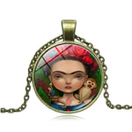 Cartoon Frida Kahlo Print Rose Headwear Monkey Glass Gem Chain Necklaces