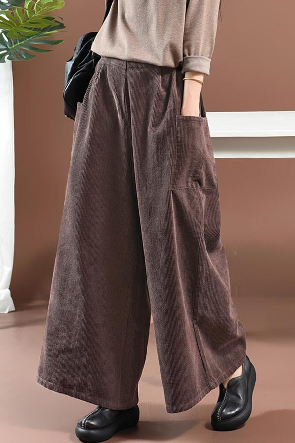Casual Solid Side Pockets Ribbed Wide Leg Pants