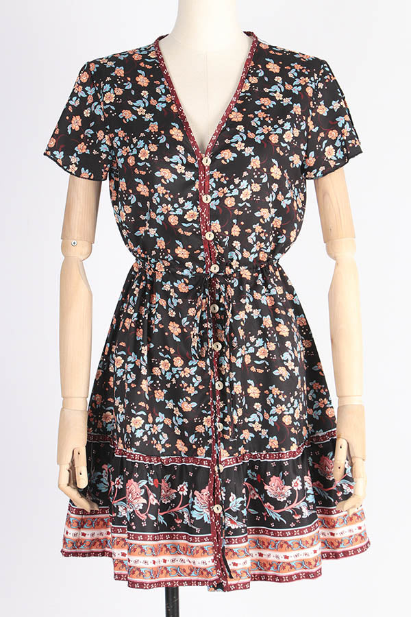 Bohemian Floral Print Self-tie V-neck Holiday Mini Dress