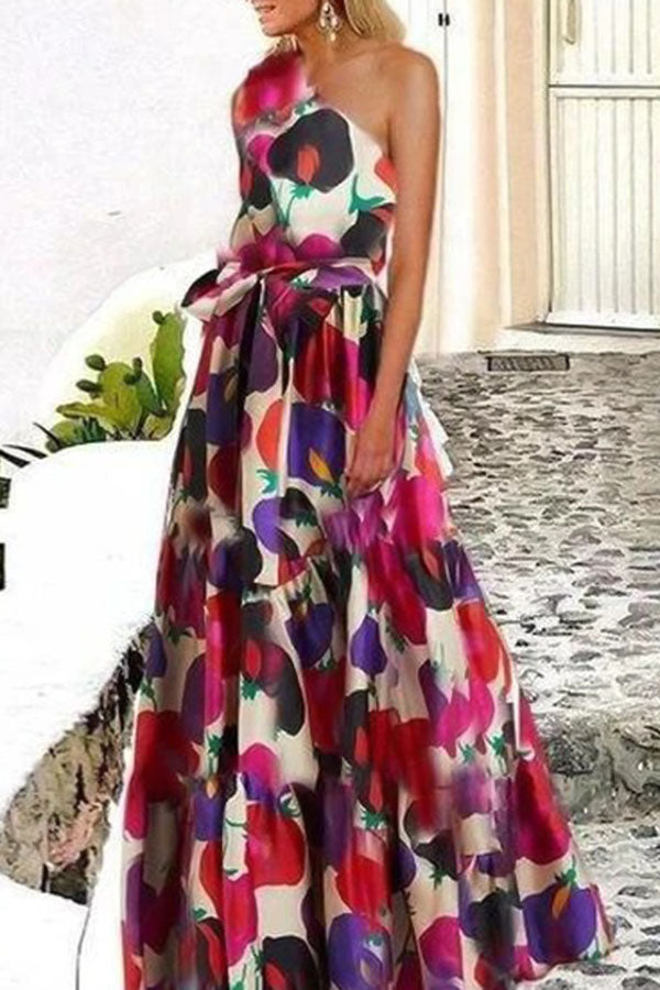 Elegant Print Self-tie One Shoulder A-line Maxi Dress