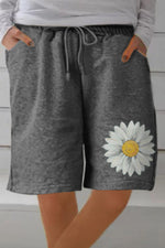 Casual Daisy Print Self-tie Side Pockets Pants Pants