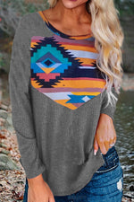 AZTEC Geometric Print Paneled Casual Knitted Top