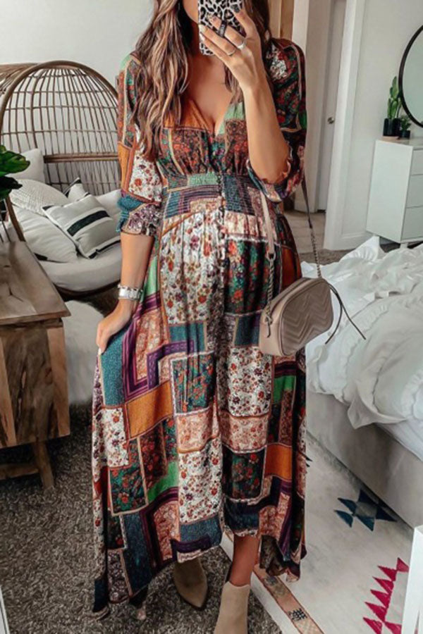 Bohemian Geometric Print Buttoned Plunging Neck Irregular Maxi Dress