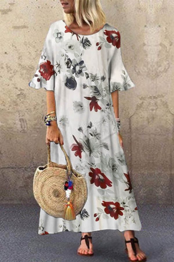 Floral Print Holiday Paneled Crew Neck Bell Sleeves Maxi Dress