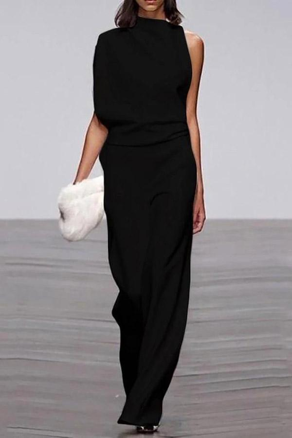 Elegant Solid Asymmetric Sleeveless Jumpsuits