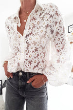 Floral Jacquard See-through Look Elegant Balloon Sleeves Blouse