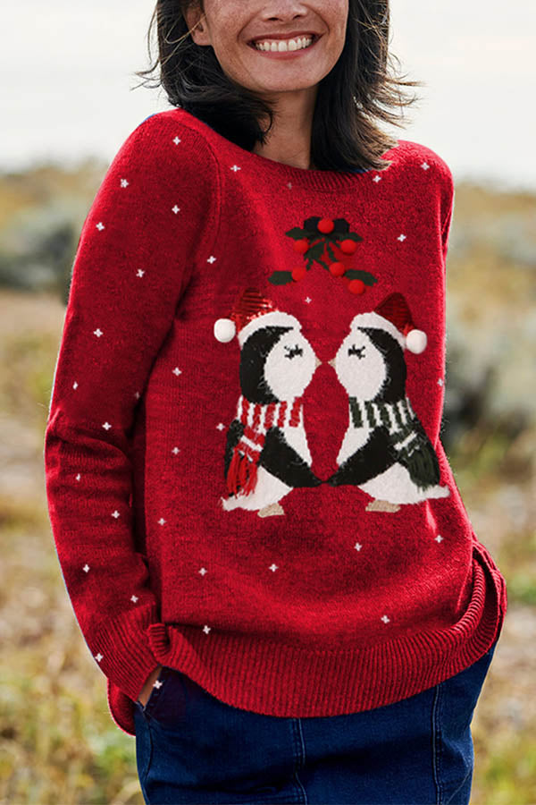 Two Penguin Kissing Christmas Jacquard Cherry Appliqued Knitted Sweater