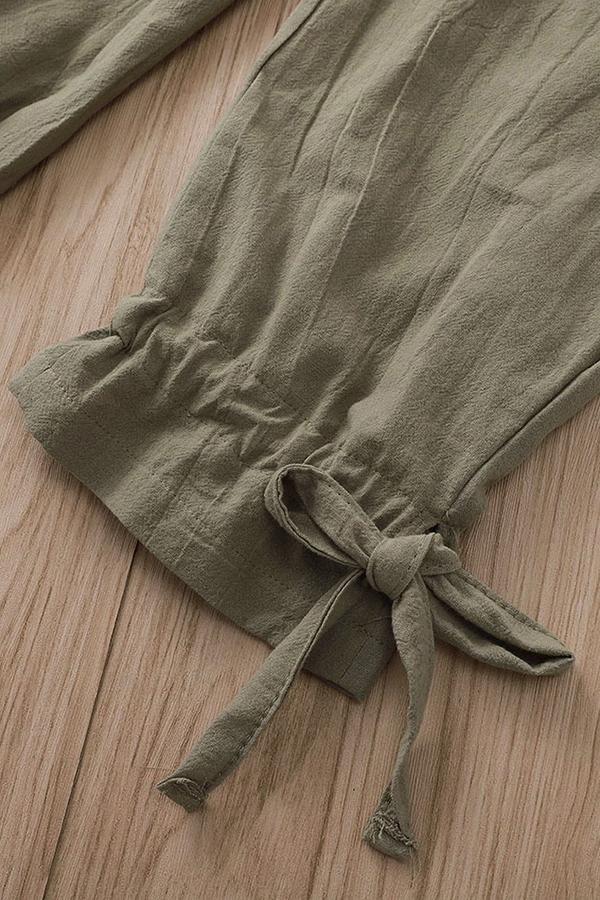 Casual Solid Drawstring Pockets Pants