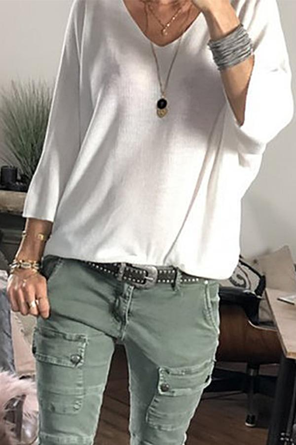 Casual V Neck Solid Long Sleeves T-shirt