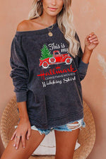 Hallmark Truck With Christmas Tree Print Holiday Sweatshirt