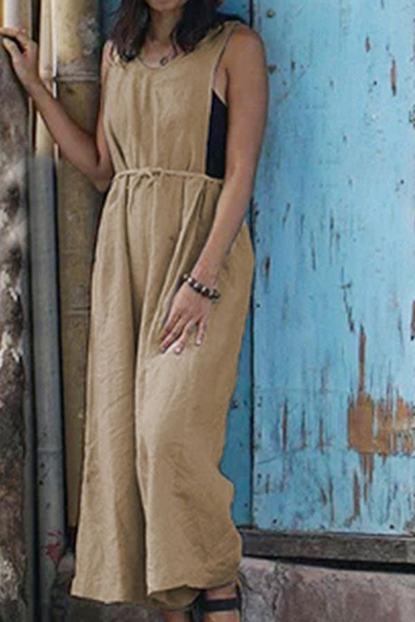 Solid Paneled Sleeveless V-neck Self-tie Casual Wide Leg Jumpsuit