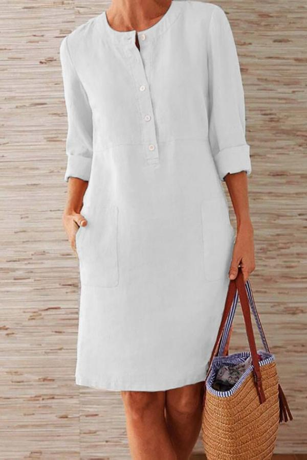 Pockets Front Long Sleeves Midi Dress