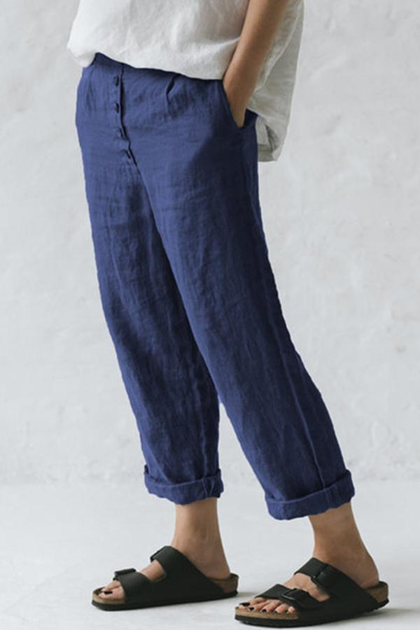 Casual Button Side Pockets Pants