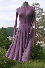 Elegant Geometric Embossed Ribbed Knitted A-line Pleated Sweater Dress
