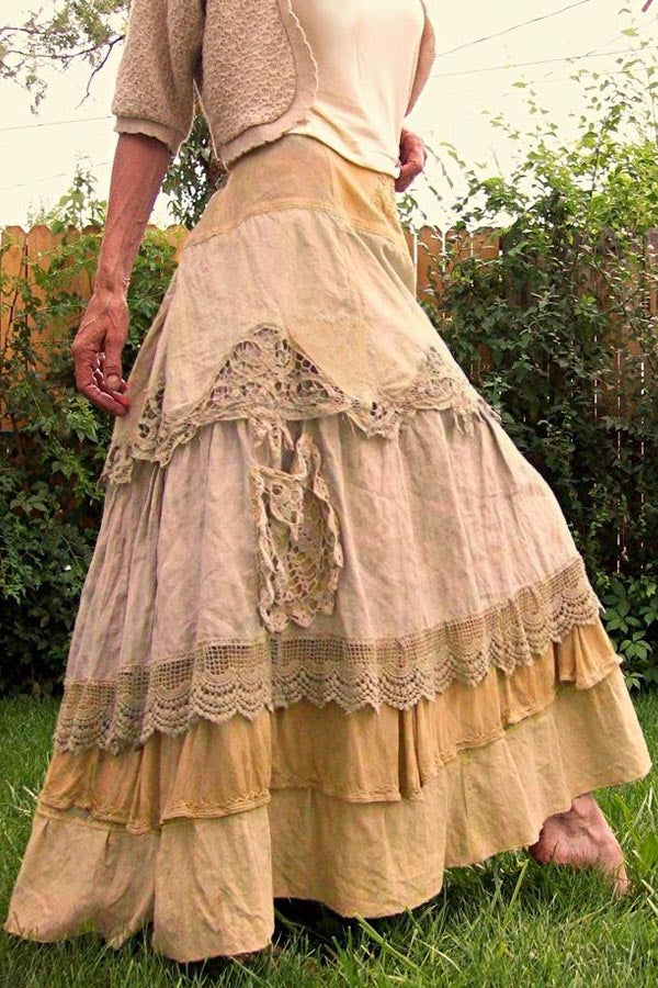 Paneled Lace Color-block Vintage Skirt