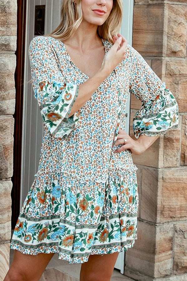 Bohemian Floral Print V-neck 3/4 Sleeves Holiday Mini Dress