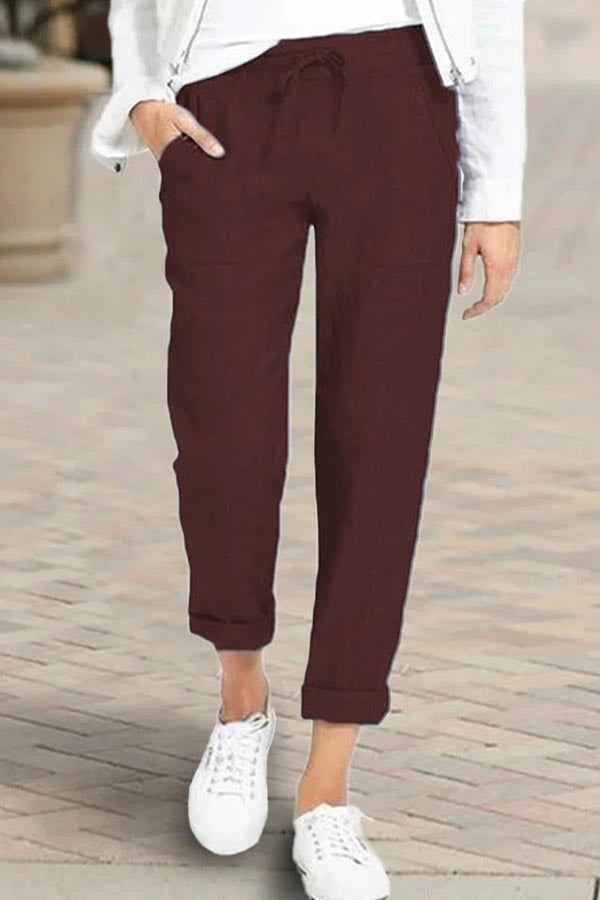Casual Solid Paneled Self-tie Side Pockets Pants