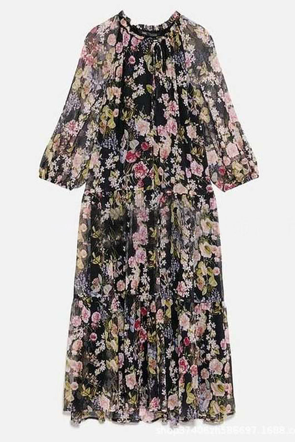 Floral Print Drawstring V-neck Holiday Chiffon Cake Midi Dress