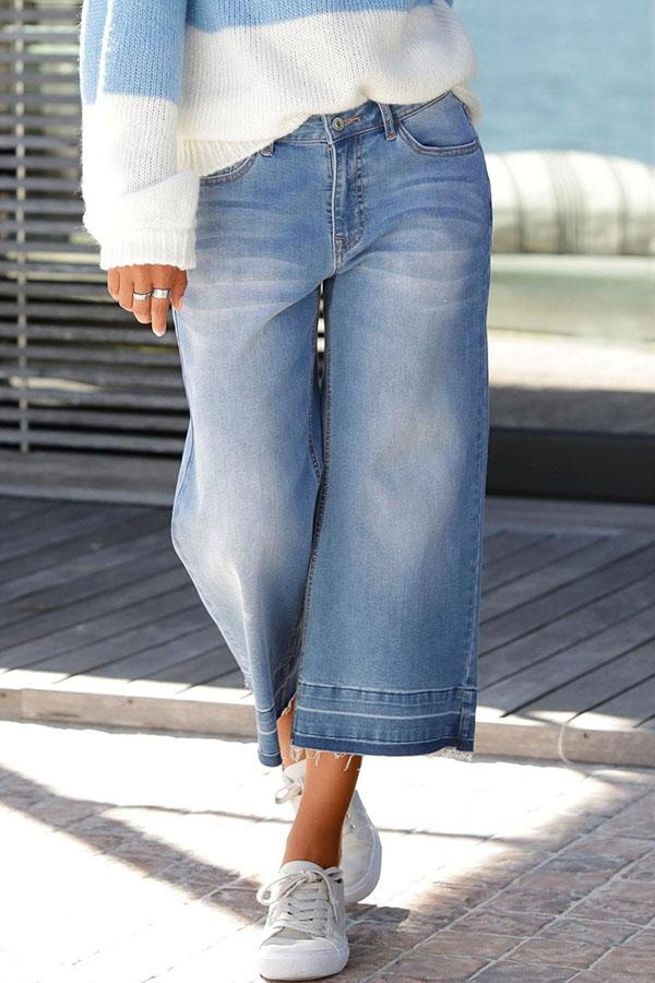 Paneled Solid Side Pockets Casual Wide Leg Jeans