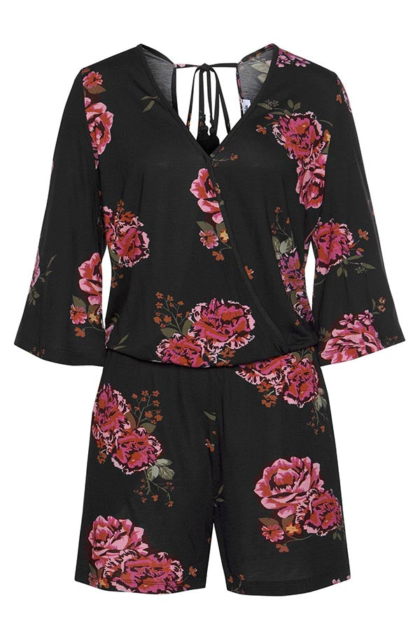 Floral Print Plunging Neck Lace Backless Holiday Romper
