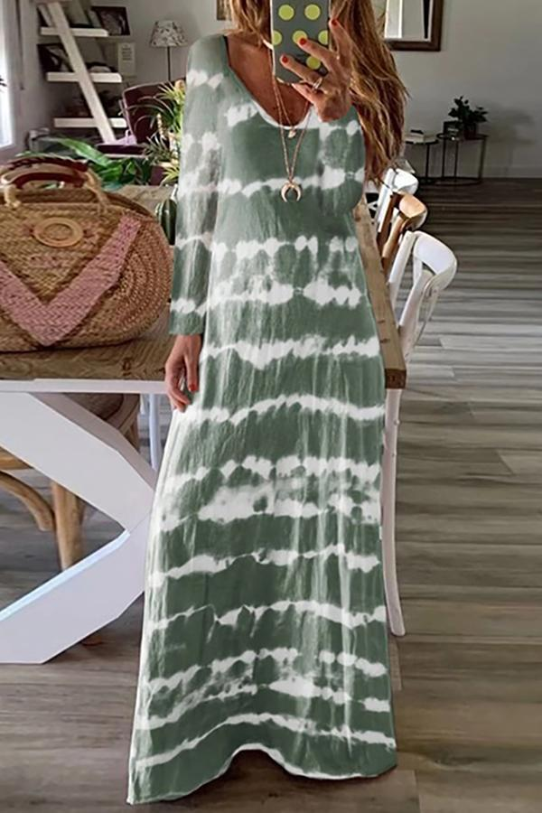 Casual Long Sleeves Gradient Print Maxi Dress