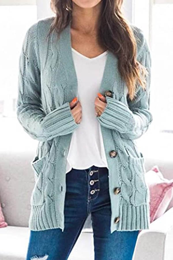 Solid Paneled Tweed Ribbed Knitted Hollow Out Casual Cardigan