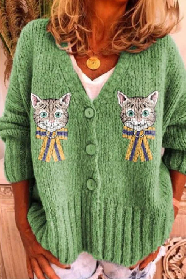Cartoon Cat Jacquard Paneled Buttons Down Ribbed Knitted Cardigan