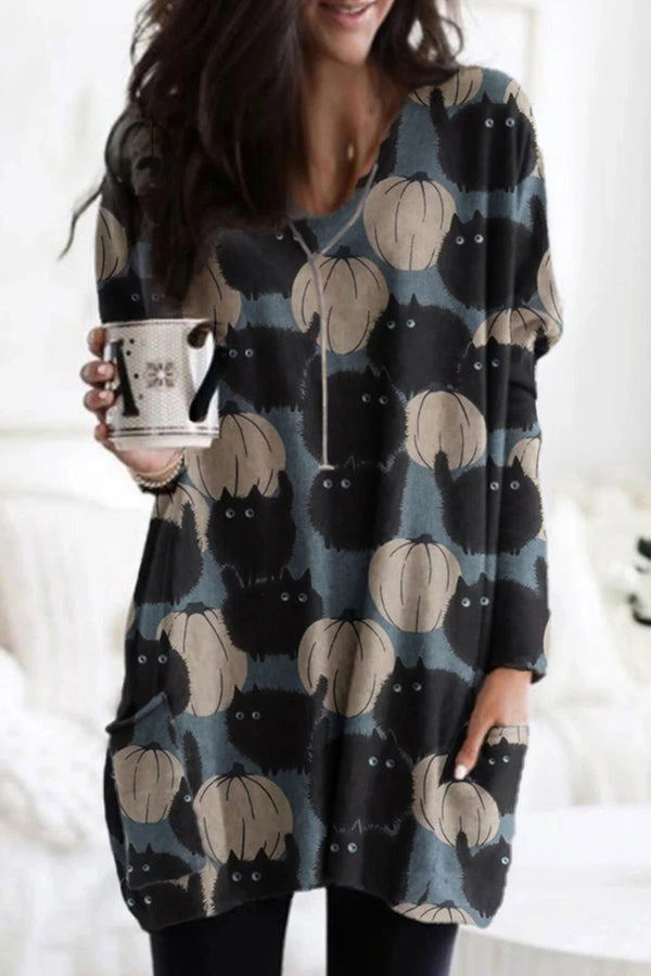 Cartoon Black Cat Pumpkin Halloween Print V-neck Mini Dress