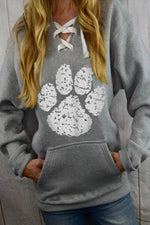 Cartoon Footprint Print Paneled Lace Up Drawstring Pocket Hoodie
