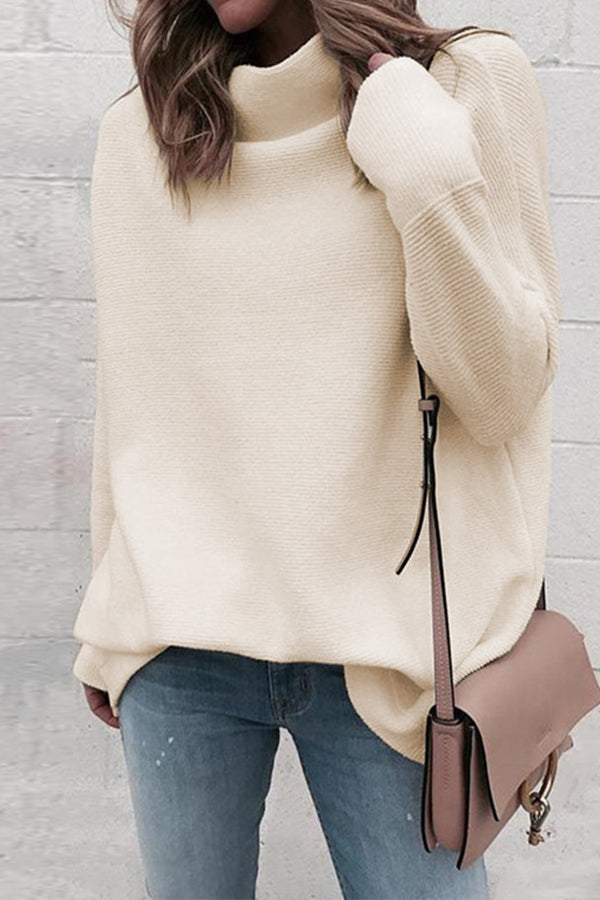 Casual Solid Knitted Paneled Ribbed Turtleneck Sweater