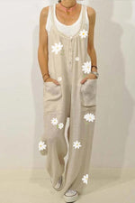 Daisy Print Buttoned Spaghetti Pockets Casual Wide Leg Jumpsuit