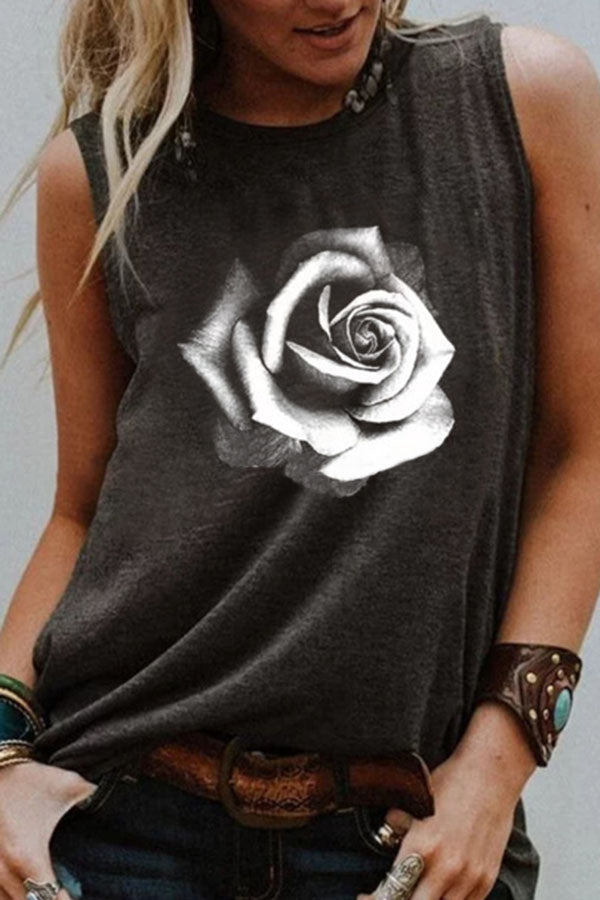 Floral Print Crew Neck Sleeveless Casual T-shirt