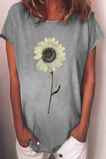 Vintage Sunflower Print Short Sleeves Casual T-shirt