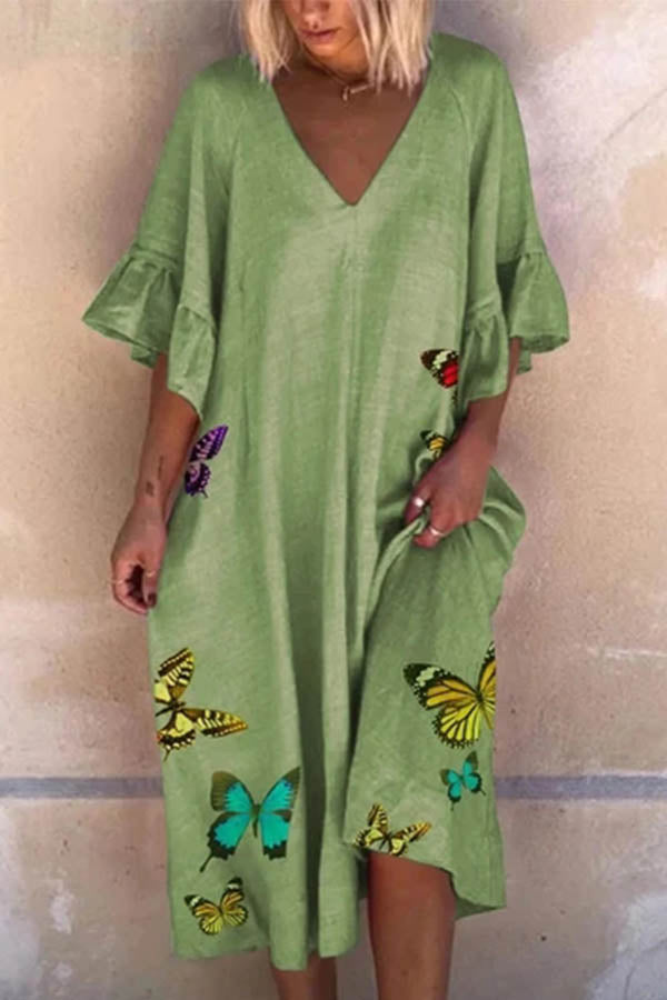 Butterfly Print V-neck Bell Sleeves Holiday Midi Dress