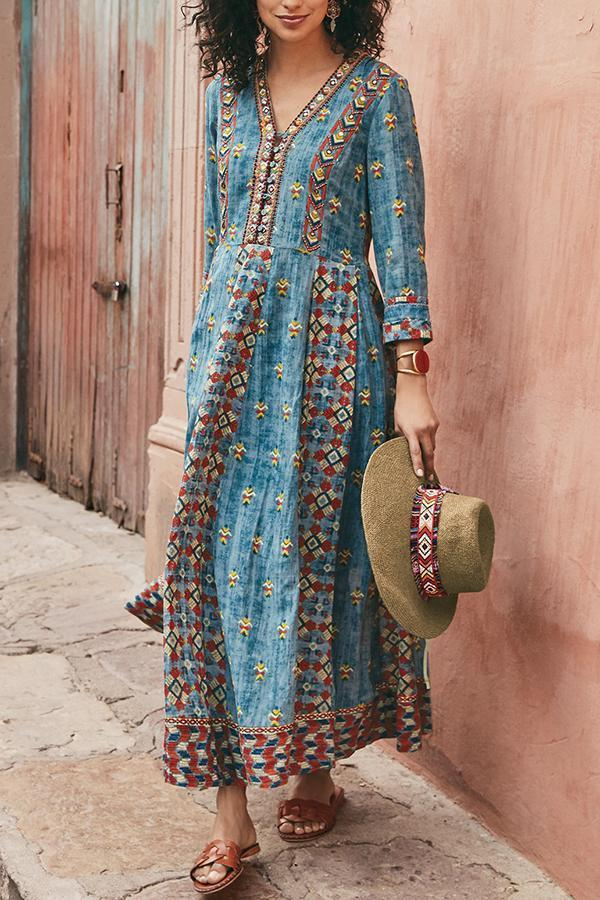 Paneled Floral Gradient Print V-neck Holiday Maxi Dress