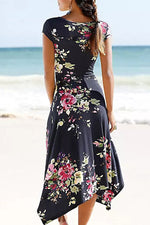 Elegant Floral Print V-neck Self-tie A-line Midi Dress