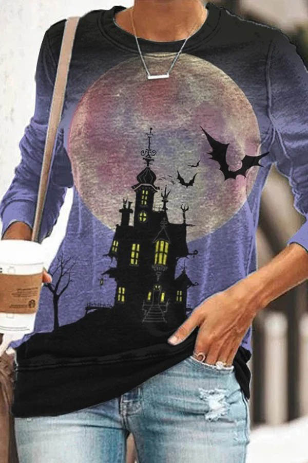 Spooky Castle Moon Bat Devil Print Halloween Sweatshirt
