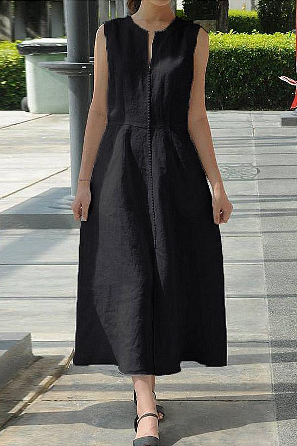 Sleeveless V Neck Solid Casual Midi Dress
