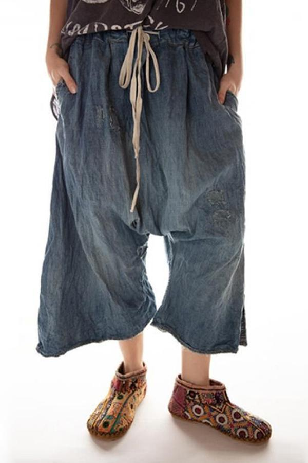 Low Waist Solid Pockets Wide Leg Self-tie Pants