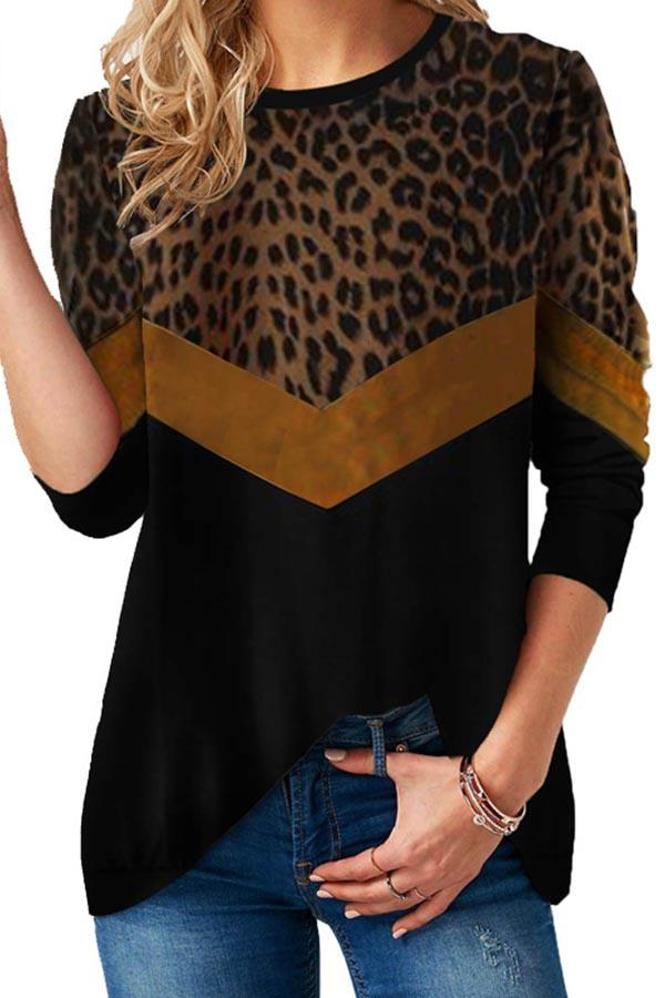 Paneled Leopard Print Color-block Casual T-shirts