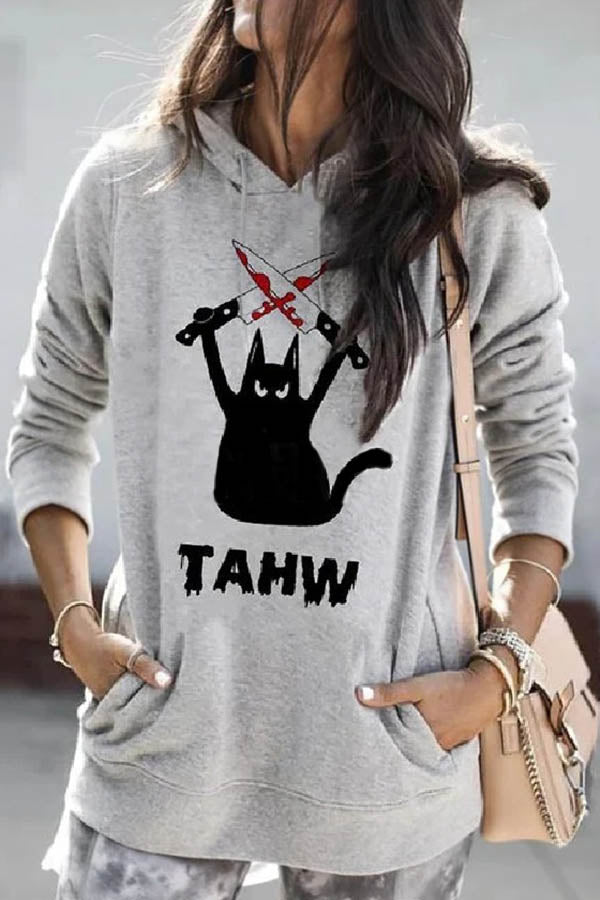 Halloween Cartoon Black Cat Holding Knife Print Hoodie